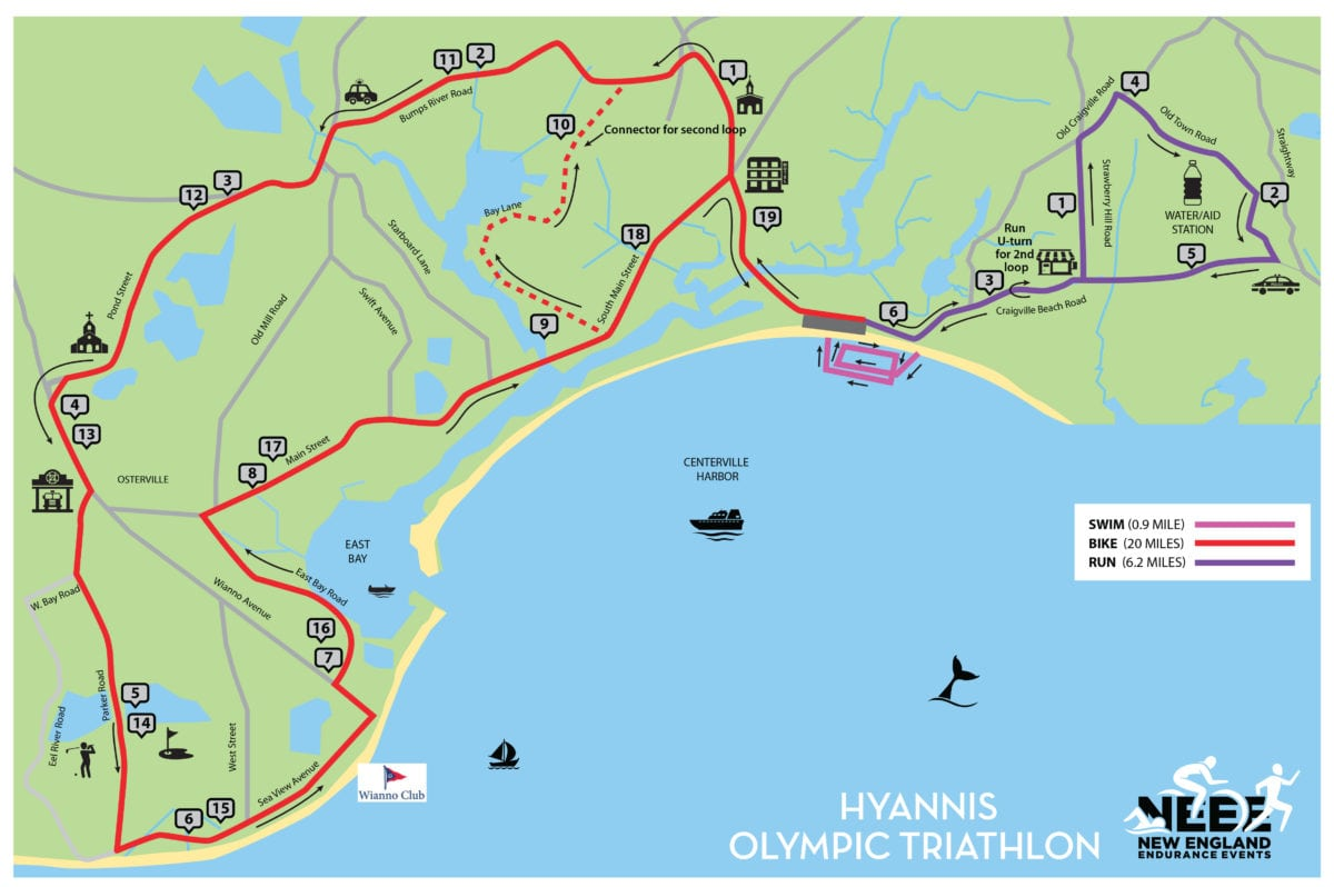 Hyannis Triathlon - Olympic Course Map