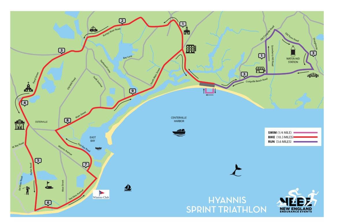 Hyannis Triathlon - Sprint Course Map