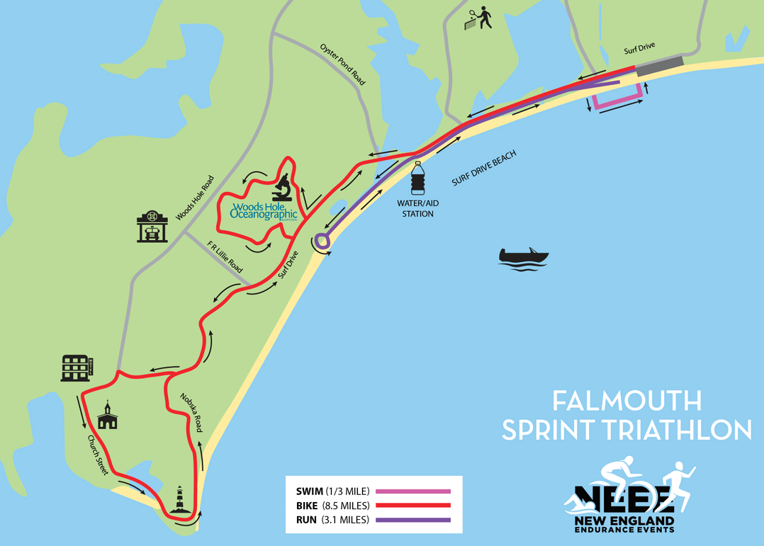 Falmouth Triathlon Race Map